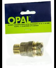 Opal muoviputken liitin uk rk08 1/2x20mm ms
