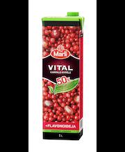 Marli Vital 1L 50% vähemmän lisättyä sokeria Karpalo-rypälemehujuoma + flavonoideja
