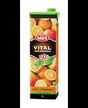 Marli Vital 1L 50% vähemmän lisättyä sokeria Appelsiini-mangomehujuoma + ACE-vitamiinit