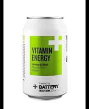 Battery Vitamin Energy Lemon&Mint 0,33 l tölkki energiajuoma