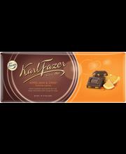 Karl Fazer 200g appelsiini crisp, appelsiininmakuisia hedelmäpaloja (8%) ja riisimuroja (2%), tumma suklaalevy