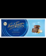 Karl Fazer 200g popcorn, suolattua (0,1%) ja paahdettua maissirouhetta (6%) maitosuklaalevy
