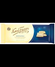 Karl Fazer 100g White & Milk, Valkoista suklaata ja maitosuklaata suklaalevy