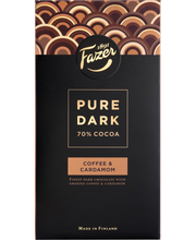 Fazer Pure Dark 95g 70% Cocoa Coffee & Cardamom, tummaa suklaata, kahvia (2,5%) ja kardemummaa (0,05%)