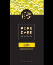 Fazer Pure Dark 95g 70% Lemon Squeezy, sitruunan makuista tummaa suklaata, suklaalevy