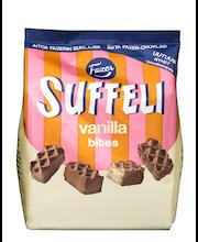 Suffeli Bites  Vanilla 215g n. 25kpl maitosuklaalla (42%) kuorrutettu vaniljanmakuinen vohvelikeksipala