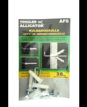 Alligator -kiinnike 6mm kulmakoukuilla 5kpl + koukut