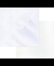 Neliökortti+kuori helmiänen valkoinen 5kpl+5kpl