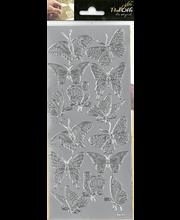 Ääriviivatarra Isot perhoset hopea