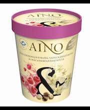 AINO& 300g/480ml Vaniljakermajäätelöä, vadelmakastiketta ja macadamiapähkinöitä