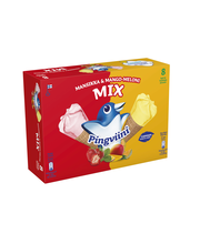 Pingviini 8x67g/1.1dl Mansikka & Mango-Meloni MIX jäätelötuutti monipakkaus