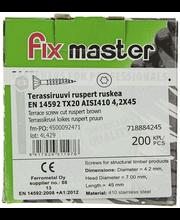 Terassiruuvi ruostumaton AISI410 TX20 4,2X45 ruskea