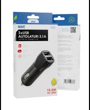 Wave autolaturisovitin 3.1A 2:lla USB liittimellä