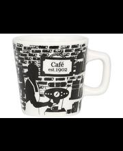 Kultakeramiikka Café 1902 espressokuppi 0,8dl, musta-valkoinen