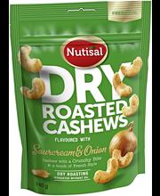 Nutisal Dry Roasted Cashew 140g Sourcream & Onion cashewpähkinöitä