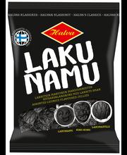 Halva Laku Namu 140 g pussi Lakritsimakuisia makeisia: King Kong, Lakunappi ja Lakupastilli