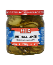 Felix Amerikkalainen 410/210g voileipäkurkkuviipaleita makeassa mausteliemessä