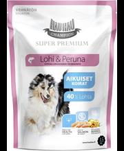 Hau-Hau Champion 1,5kg Lohi-peruna täysravinto kaikille koirille