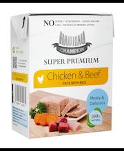 Hau-Hau Champion super premium Kana-naudanliha pate riisillä 375 g