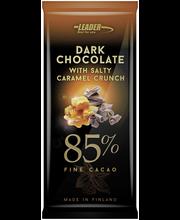 Leader Dark Choco 100g Hienoa 85% tummaa suklaata, karamellia ja merisuolaa. Vähälaktoosinen