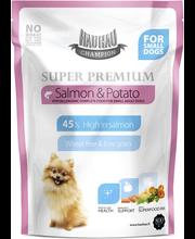 Hau-Hau Champion Super Premium Lohi-peruna pienille aikuisille koirille 800 g