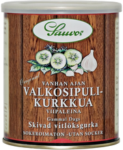 Sauvon 850/460 g Vanhan Ajan Valkosipuli Viipalekurkkua mausteliemessä