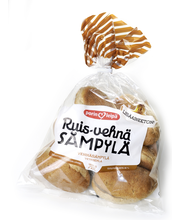 Porin Leipä Ruis-vehnäsämpylä 7kpl/420g halkaistu vehnäsekasämpylä