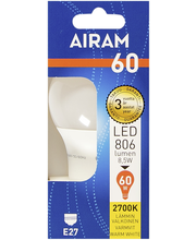 Airam LED 8,5W vakiolamppu opaali E27 806lm 2700K