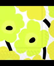 Marimekko Unikko 20kpl keltainen servietti