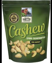 Den Lille Nøttefabrikken 280g Cashew rypsiöljyssä paahdettu cashewpähkinä, sisältää merisuolaa