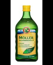 Möller Kalanmaksaöljy Natural Omega-3 Vitamiinit A-D-E ravintolisä 500ml