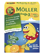Möller 54g/45kpl omega-3 pikkukalat appelsiinin- ja sitruunanmakuinen omega-3-rasvahappo-D-vitamiinivalmiste ravintolisä