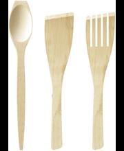 Jonas lusikka,haarukka ja lasta 3-setti puinen