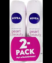 NIVEA 2x150ml Pearl & Beauty Deo Spray antiperspirantti tuplapakkaus