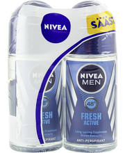 NIVEA MEN Fresh Active roll-on-tupla antiperspirantti 2x50 ml