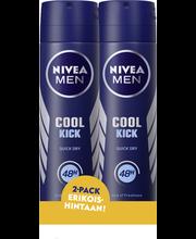 NIVEA MEN 2x150ml Cool Kick Deo Spray -antiperspirantti