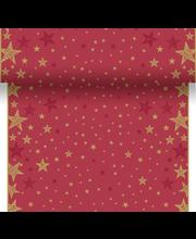 Duni Dunicel 0,4x4,8m Shining Star punainen perforoitu poikkiliina