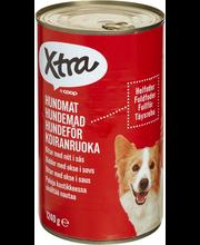 X-tra Koiranruoka paloja kastikkeessa, sisältää nautaa, 1240 g