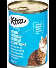 X-tra Kissanruoka paloja kastikkeessa, sisältää kalaa, 415 g
