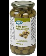 X-tra Vihreät oliivit paprikatahnatäytteellä 935/550 g