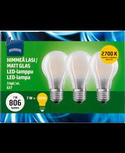Rainbow LED-lamppu 7W E27 2700K 806lm himmeä lasi 3kpl