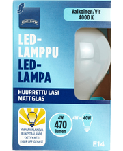 Rainbow LED-lamppu 4W E14 4000K 470lm huurrettu lasi