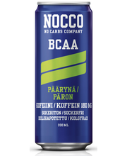 NOCCO BCAA 330ml, päärynän makuinen, aminohappoja, kofeiinia ja vitamiineja sisältävä hiilihapotettu juoma