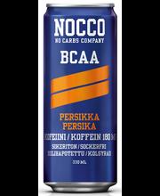 NOCCO BCAA 330ml, persikan makuinen, aminohappoja, kofeiinia ja vitamiineja sisältävä hiilihapotettu juoma