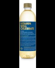 500ml Vitamin Well Celebrate, mangon ja ananaksen makuinen vitaminoitu hiilihapoton juoma