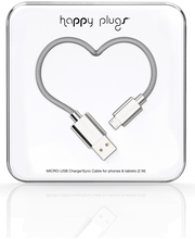 Happy Plugs micro-USB / USB kaapeli 2M SILVER