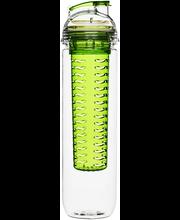 Sagaform Fresh juomapullo hedelmäpatruunalla 80 cl, kirkas/vihreä