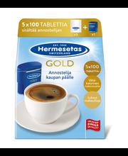 Hermesetas 5x100 tablettia Gold täyttöpakkaus makeutusainetabletti ja annostelija