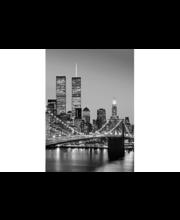 Idealdecor valokuvatapetti Manhattan Skyline at Night 00388, 4-osainen, 183 x 254 cm mustavalkoinen