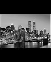 Idealdecor valokuvatapetti Manhattan Skyline at Night 00138,  8-osainen, 366 x 254 cm mustavalkoinen